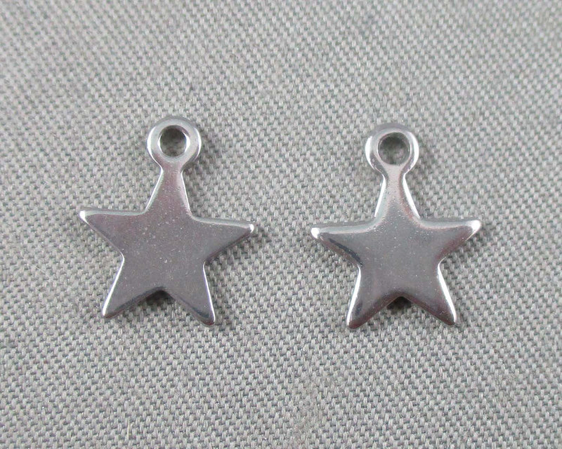 Star Charms Stainless Steel 5pcs 10x9mm  (0334)