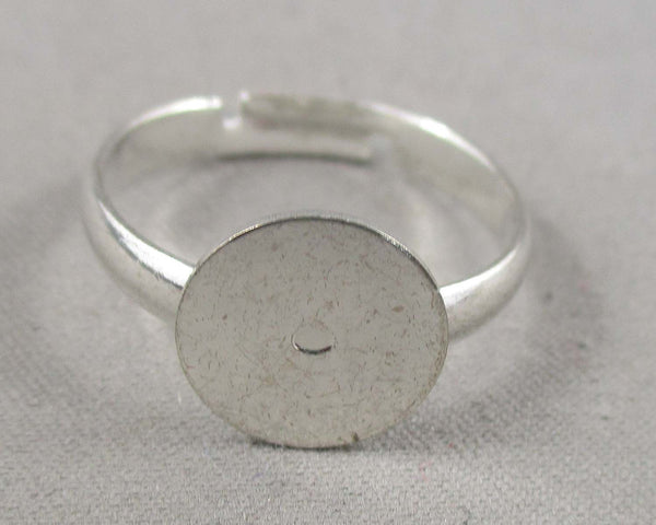 Glue-on Pad Rings Silver Tone 8pcs (0211)