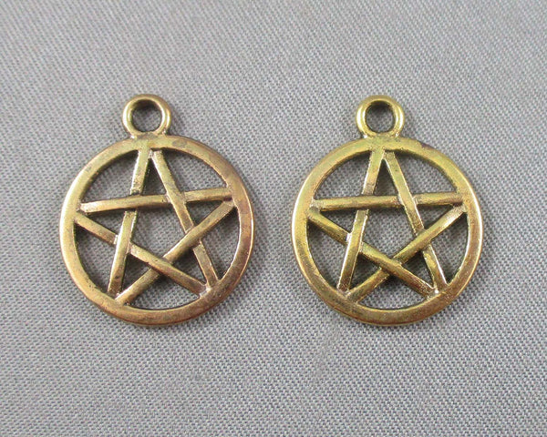 Pentacle Charm Gold Tone 10pcs (1476)