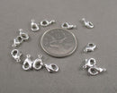 Lobster Clasp Silver Tone Brass 5x10mm 12pcs (0126-1*)
