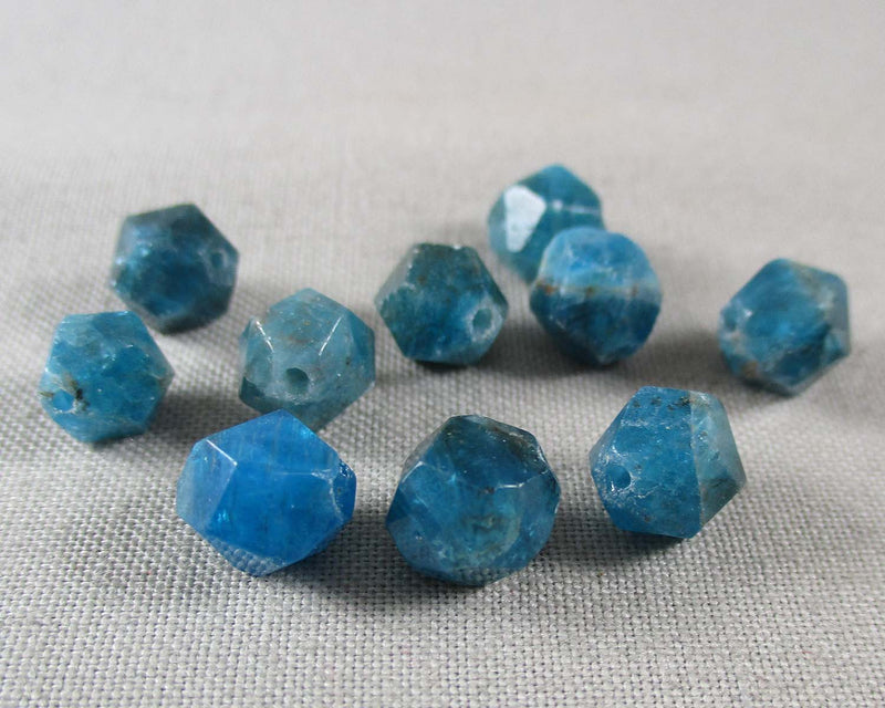 Blue Apatite Beads Star Cut Faceted 8mm 10pcs (1333)