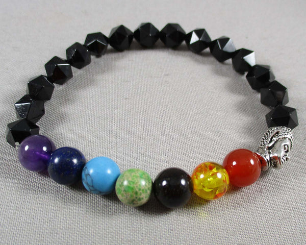 Star Cut Black Onyx & Chakra Gemstone Bracelet 1pc (1302)