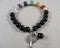 Black Onyx & Chakra Gemstone Bracelet 1pc (1310)