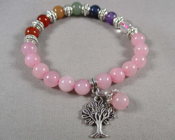 Rose Quartz & Chakra Gemstone Bracelet 1pc (1313)