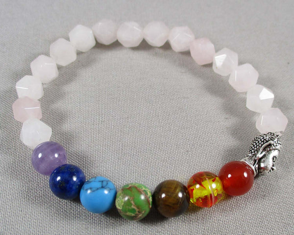 Star Cut Rose Quartz & Chakra Gemstone Bracelet 1pc (1304)