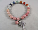 Rhodonite & Chakra Gemstone Bracelet 1pc (1309)