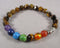 Star Cut Tiger Eye & Chakra Gemstone Bracelet 1pc (1303)