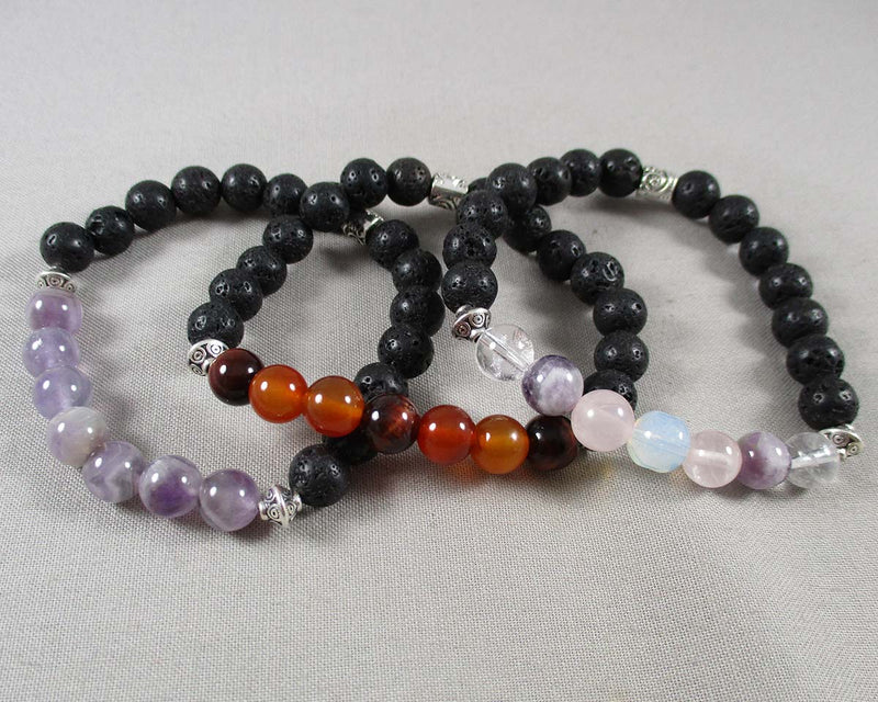 You choose the Gemstones! Custom Lava Diffuser Bracelet 8mm 1pc