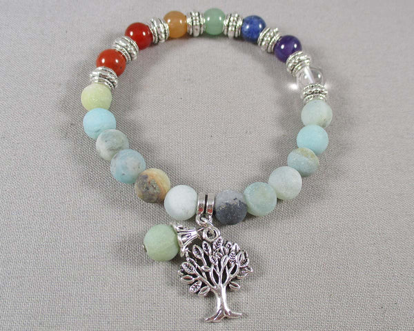 Amazonite & Chakra Gemstone Bracelet 1pc (1370)