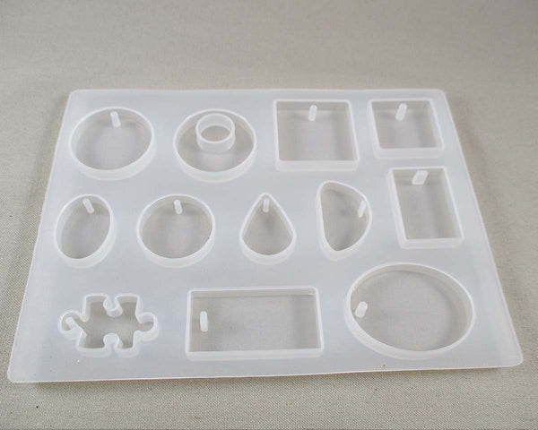 Silicone Resin Mold DIY 12 Mixed Shape Pendants 1pc (1308)