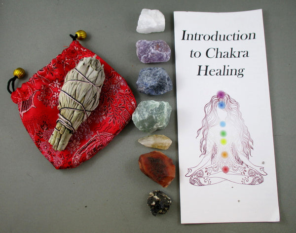 Raw Crystals Chakra Stones Set with Sage
