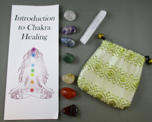 polished chakra stone set with selenite