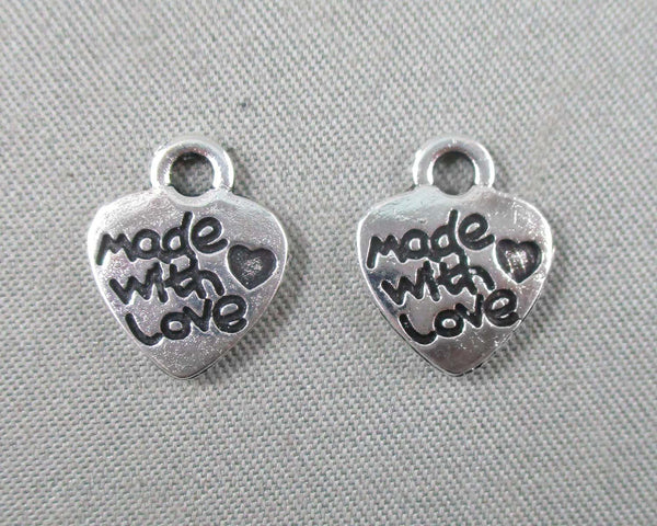 """Made with Love"" Charm Silver Tone 24pcs (0040)"