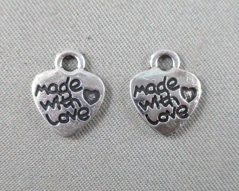"""Made with Love"" Charm Silver Tone 24pcs (1405)"