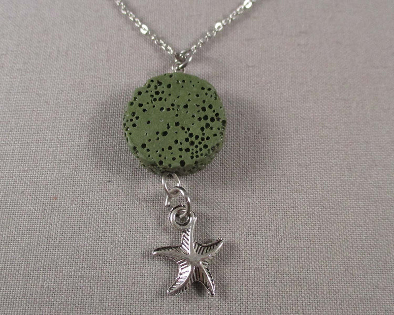 Green Lava Diffusible Stone Pendant with Star Fish 1pc (Z228)