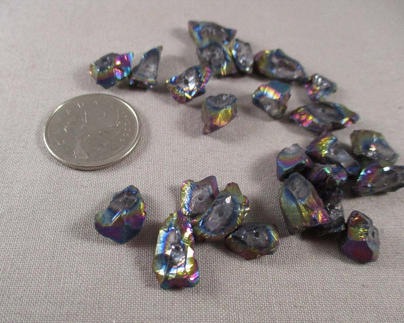 Mini Electroplated Quartz Points (Drilled) Rainbow Aura 6pcs (Z174)