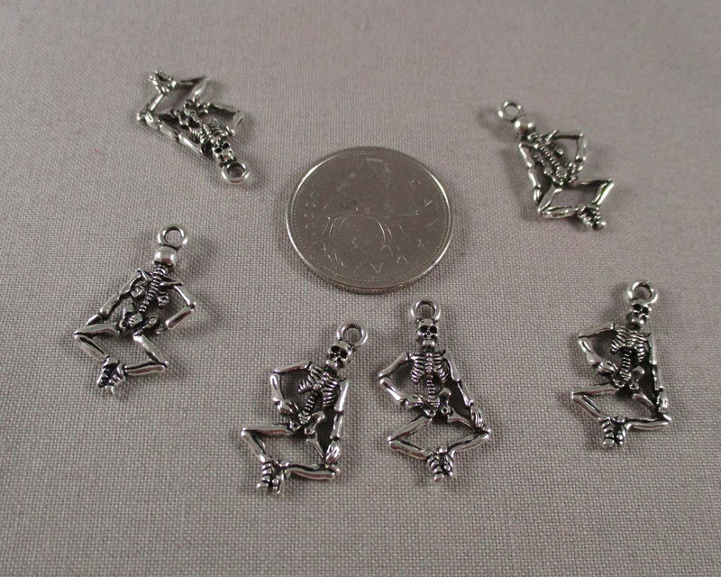 Skeleton Charms Silver Tone 16pcs (1408)