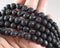 BULK Black Lava Beads Round 8mm 5 Strands (3029)