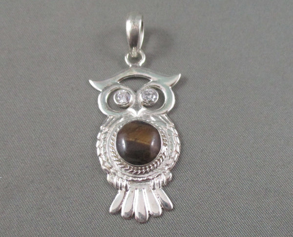 tiger eye owl pendant sterling silver