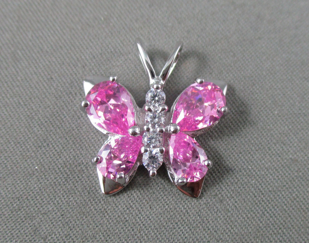 pink butterfly pendant 925 sterling silver