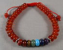 Carnelian & Chakra Gemstone Bracelet (Adjustable) 1pc (1466)