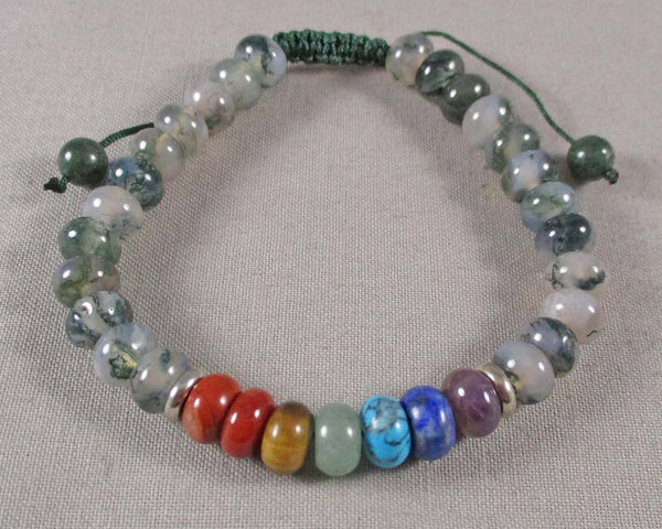 Moss Agate & Chakra Gemstone Bracelet (Adjustable) 1pc (1467)