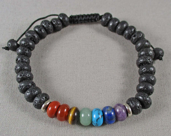 Lava Diffuser & Chakra Gemstone Bracelet (Adjustable) 1pc (1468)