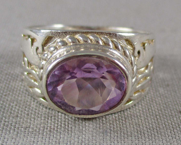 Amethyst Ring Size 6 (925 Sterling Silver) B491-1