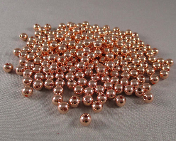 BULK Rose Gold Tone Round Brass Spacer Beads 6MM 1000pcs (2103)