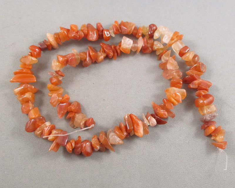 "Red Agate Beads Chip Strand 16"" Z013"