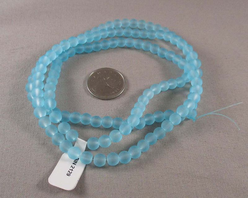 "Sky Blue Frosted Glass 6mm Beads 31"" Strand (2129)"