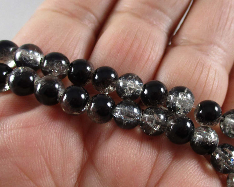 Black Crackle Glass Bead Strand 6mm (1512)