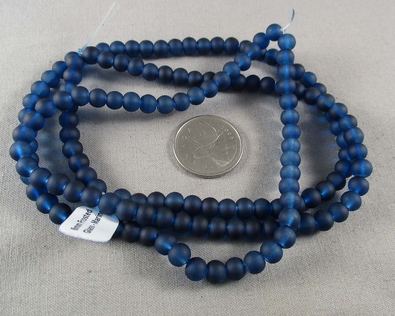 Marine Blue Frosted Glass Beads Various Sizes