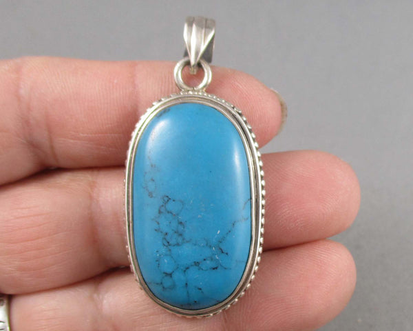 """Turquoise"" Pendant 925 Sterling Silver 1pc B173-4"