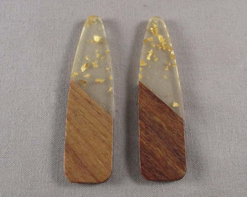 Resin and Wood Pendant with Gold Foil 1pc
