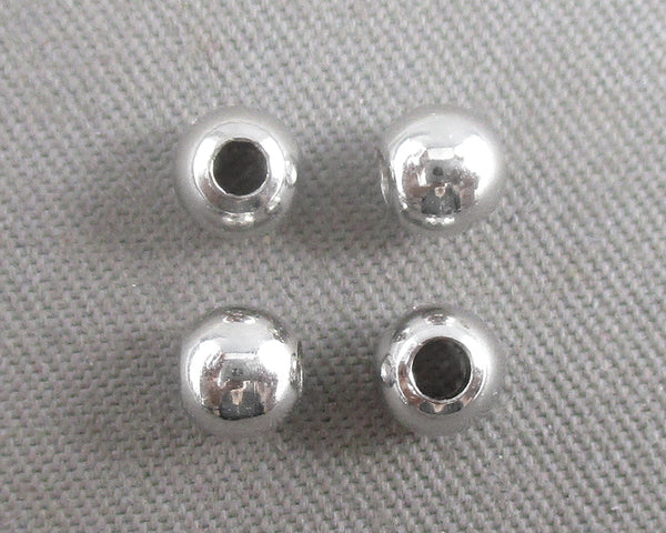 Silver Tone Round Brass Spacer Beads 4mm 10pcs (0465-1)