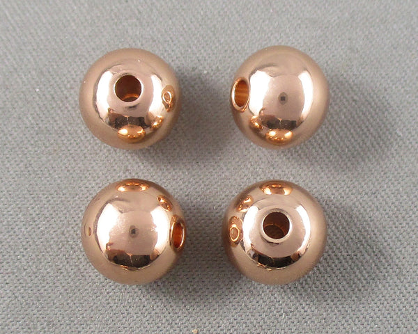 Rose Gold Tone Round Brass Spacer Beads Various Sizes
