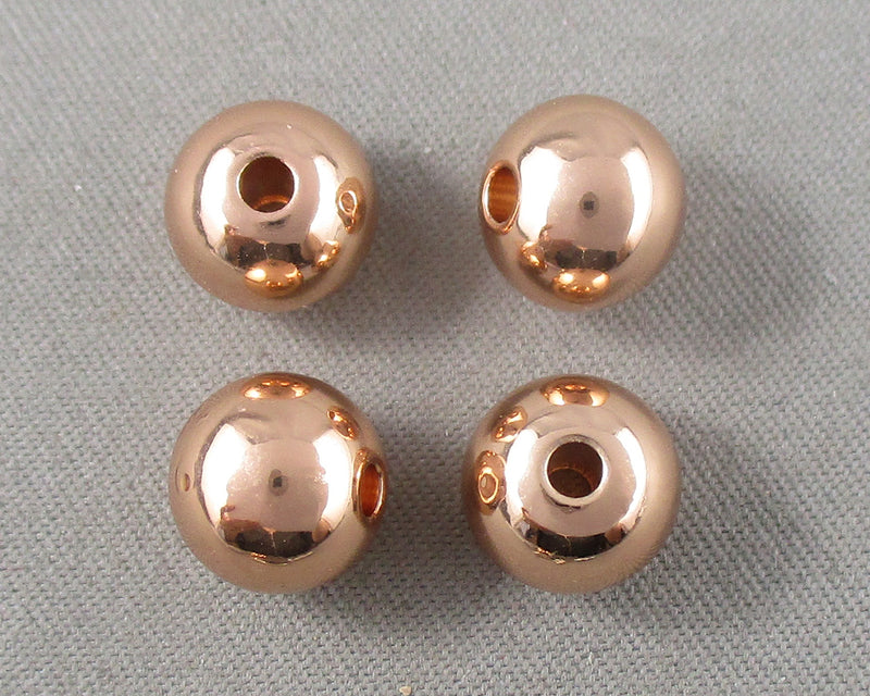 Premium Rose Gold Tone Round Brass Spacer Beads Various Sizes