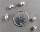 Ball Shape Magnetic Clasps Silver Tone 4 sets (1092)