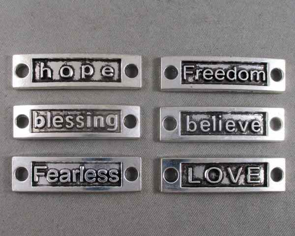 Silver Tone Inspirational Word Links 6pcs (1442)