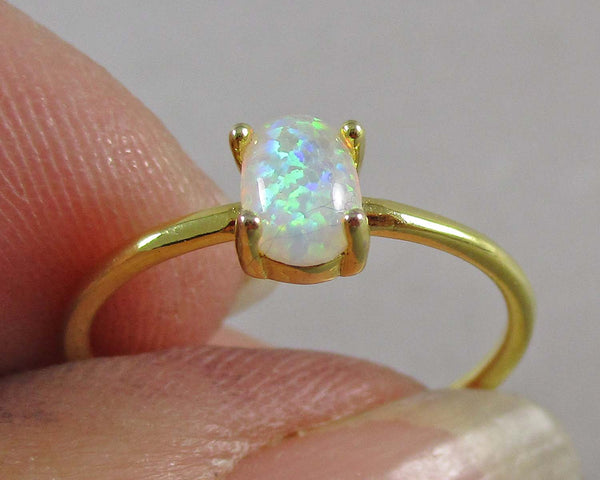 Opal Ring (Adjustable) Gold Brass Cuff Style 1pc (1568)