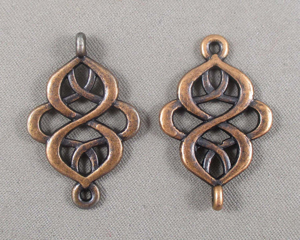Antique Copper Tone Swirl Links 8pcs (0412)