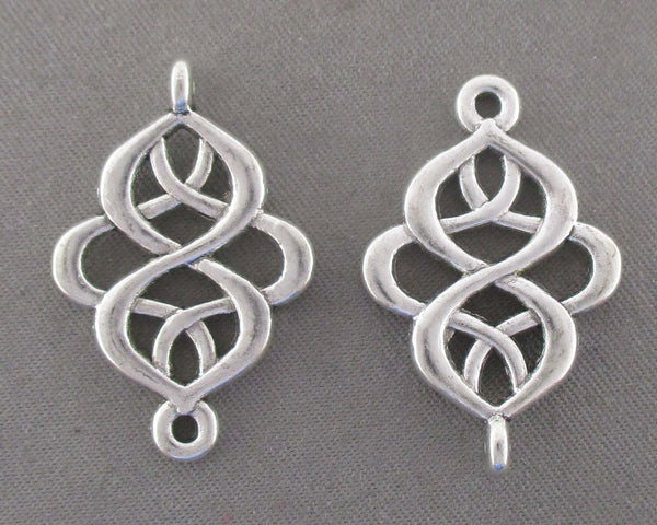 Silver Tone Swirl Links 8pcs (0426)