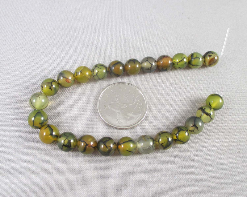 "Dragon Vein Agate Beads Round 8mm 7.5"" Strand (1254)"