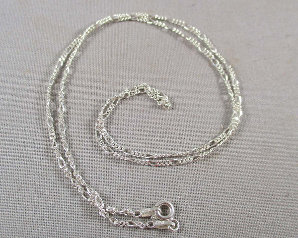 1.4mm Figaro Chain Sterling Silver 925 (Various Lengths)