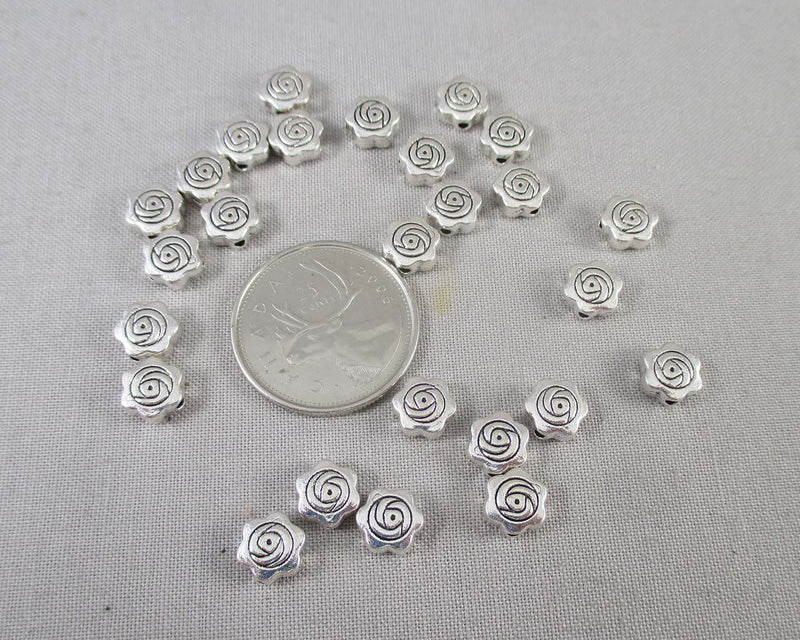 Silver Tone Flat Round Flower Spacer Beads 8mm 26pcs (0903)