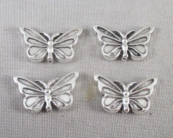 Silver Tone Butterfly Spacer Beads 10x17mm 10pcs (1208)