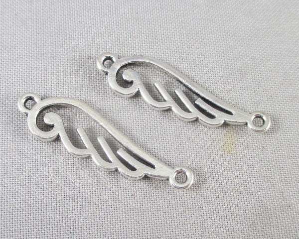Silver Tone Wings Links 10pcs (0818*)