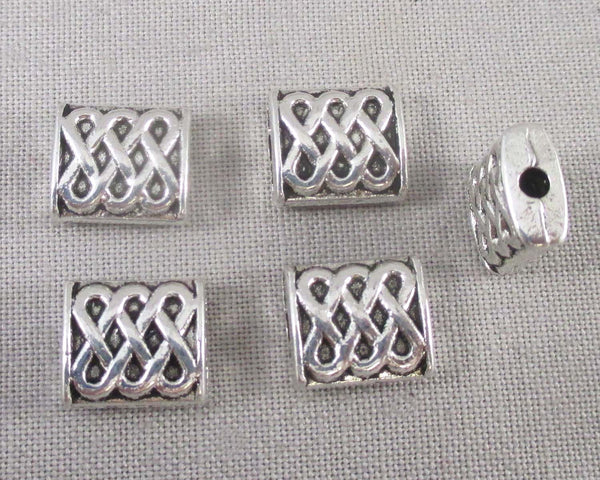 Silver Tone Rectangle Celtic Spacer Beads 10x9mm 12pcs (2110)