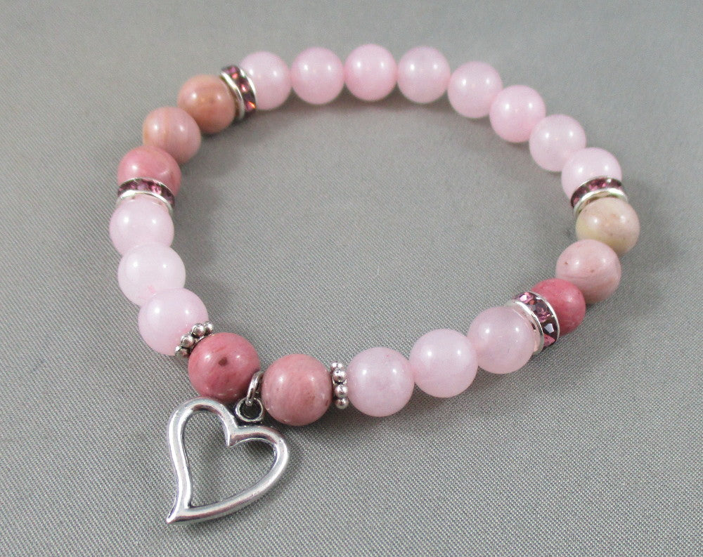 Rhodonite / Rose Quartz Bracelet with Heart - Love Charm 1pc T594